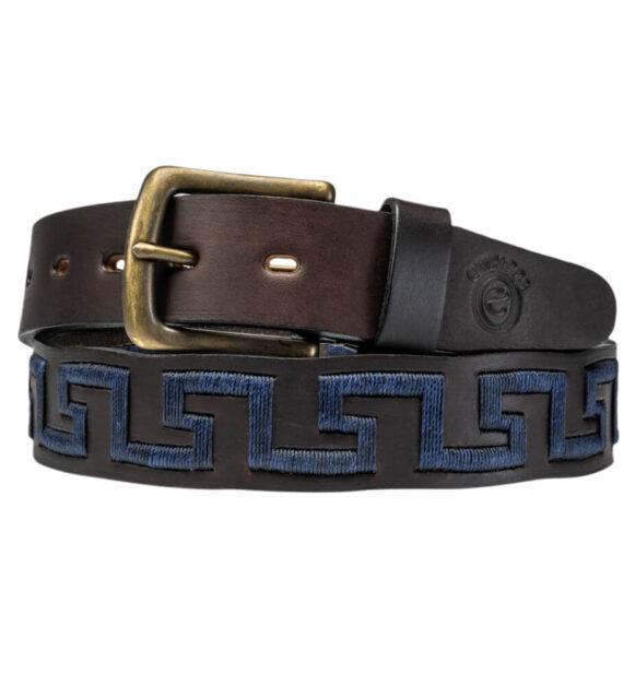 Navy Polo Belt - Greek Key Pattern - Gaucho Belt