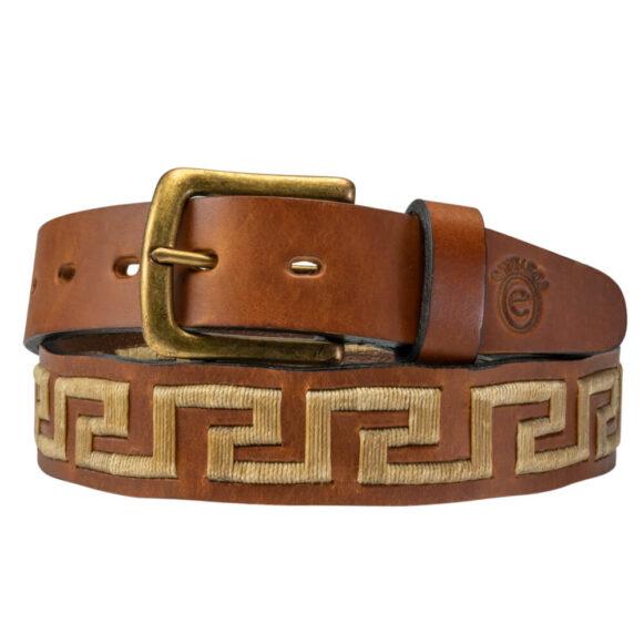 Crema Polo Belt - Greek Key Pattern - Gaucho Belt