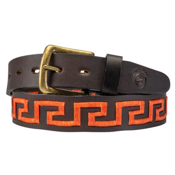 Orange Polo Belt - Greek Key Pattern - Gaucho Belt