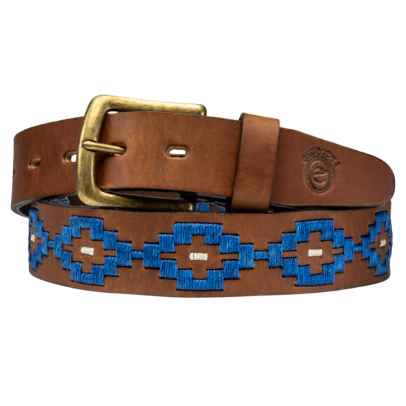 Pampa blue polo belt handmade in Argentina by Estribos