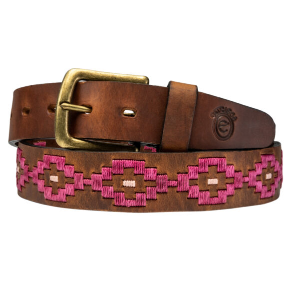 Pampa polo belt in pink handmade in Argentina by Estribos