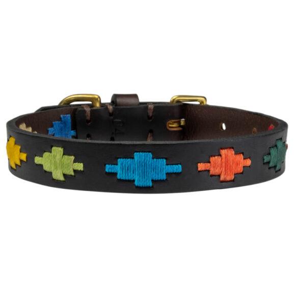 Rainbow polo dog collar | Argentinian Gaucho Collar | Brass