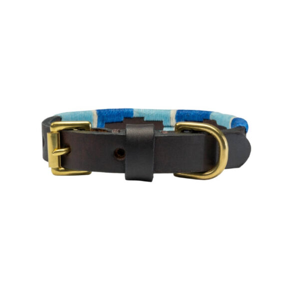 Blue polo dog collar | Argentinian Gaucho Collar | Miniature and Puppy | Brass