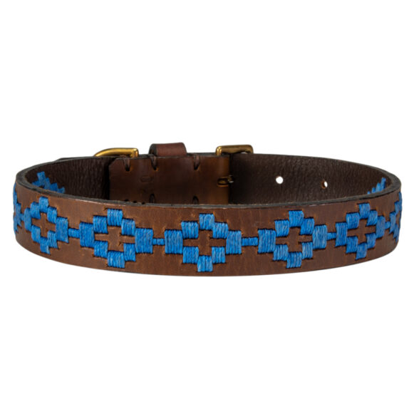 Pampa blue polo dog collar handmade in Argentina by Estribos