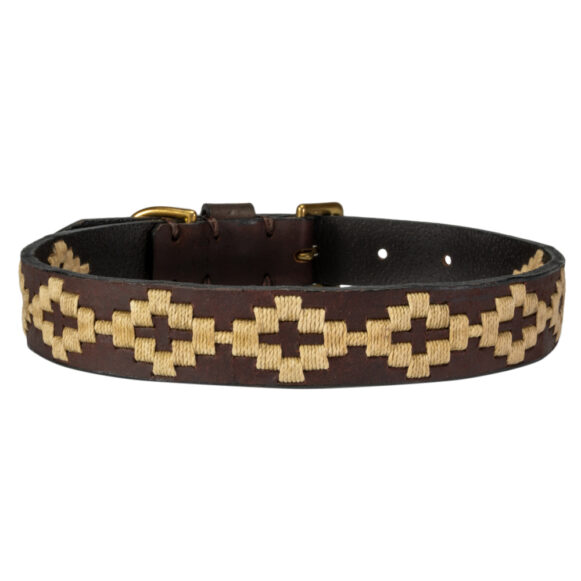 Polo Dog Collar in cream handmade in Argentina by Estribos
