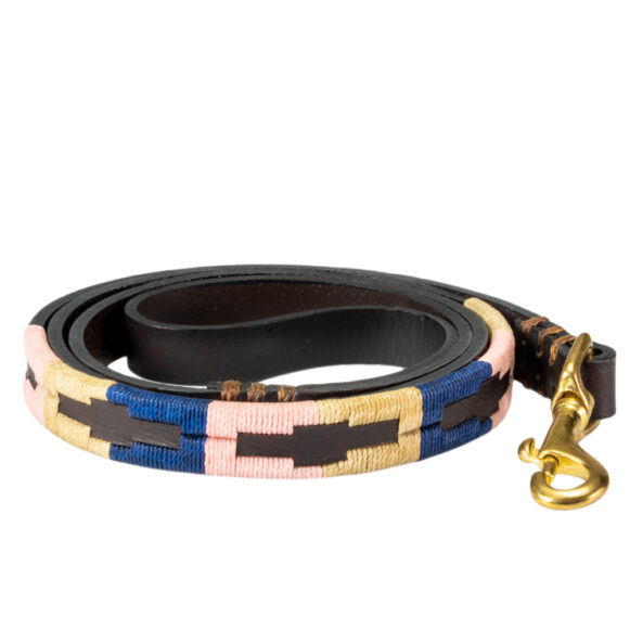 Leather embroidered dog lead