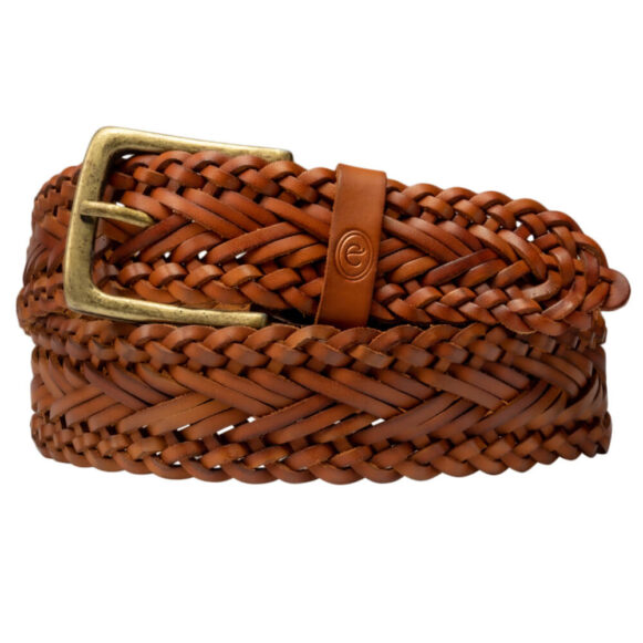 Plaited Leather Belt - Trenzado - 38m Uniex Belt - Argentinian Tan Brown