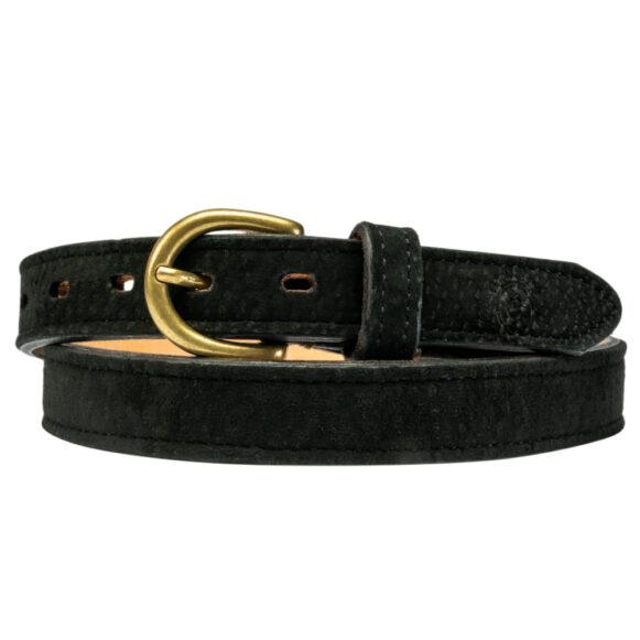 Black Carpincho Belt handmade in Argentina by Estribos