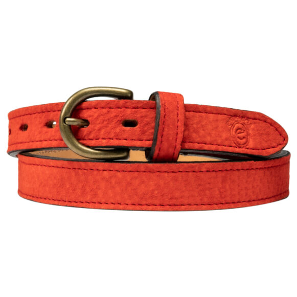 Plain red Carpincho belt handmade in Argentina by Estribos