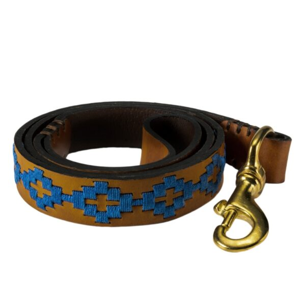Pampa polo dog lead in blue handmade in Argentina by Estribos