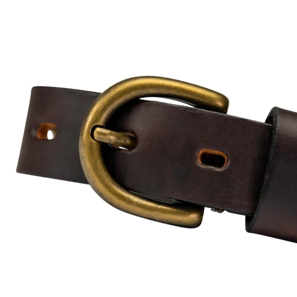 Brass-effect round belt buckle